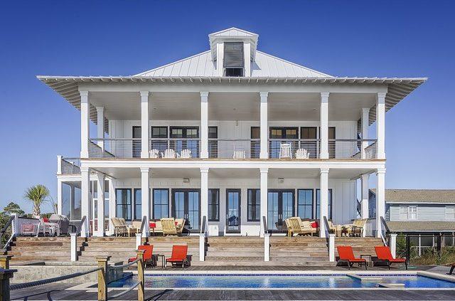 Big white villa with swimming pool