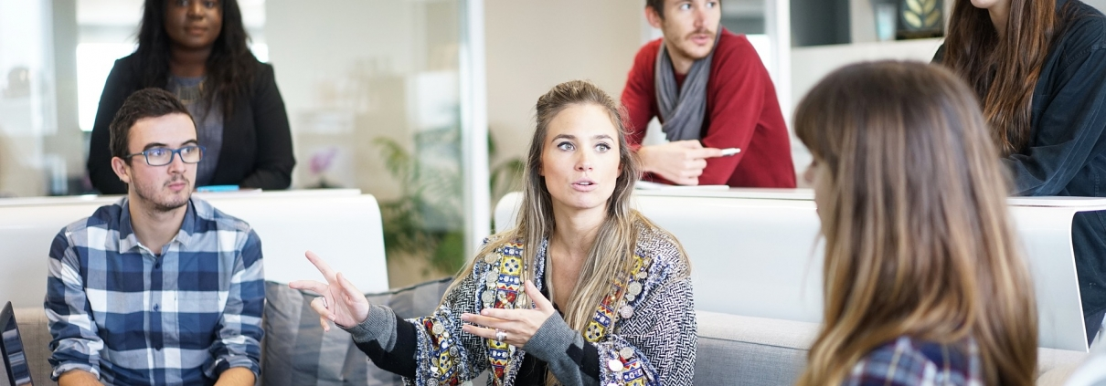 people discussing in a workplace